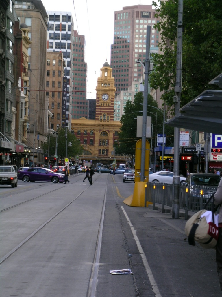 Elizabeth Street:  You can see Flinders Street Station