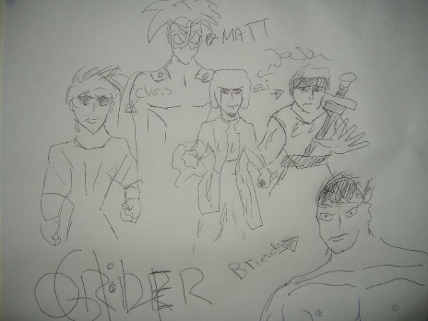 A picture one of the Order peeps drew of the men in the team. It was stuck on our lounge room wall for months.